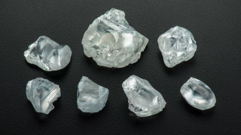 Uncut diamonds from the Letsend mine in Lesotho. Scientists are studying rare diamonds like these to learn more about the Earth's mantle.