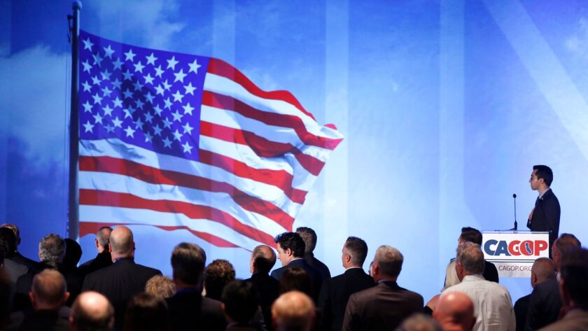 Naweed Tahmas, spokesman for the Berkley College Republicans, said the pledge of allegiance before Stephen K. Bannon spoke at the California Republican Party convention in Anaheim, CA on Oct. 20.