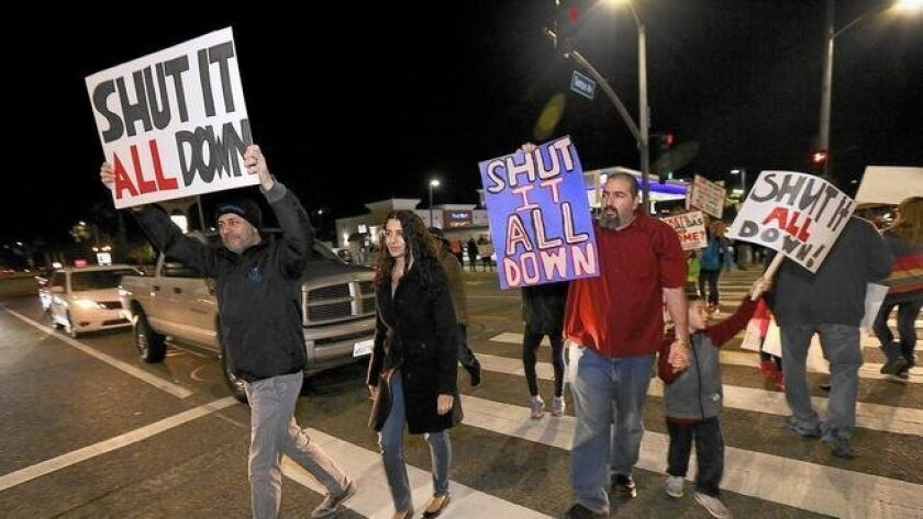 Porter Ranch residents at a protest last week call for the closure of the Aliso Canyon storage facility. (Mel Melcon / Los Angeles Times)