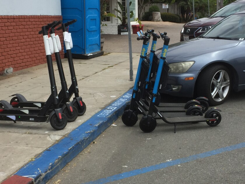 The Skip scooter used for this ride was improperly staged in a disabled parking spot on Cuvier Street.