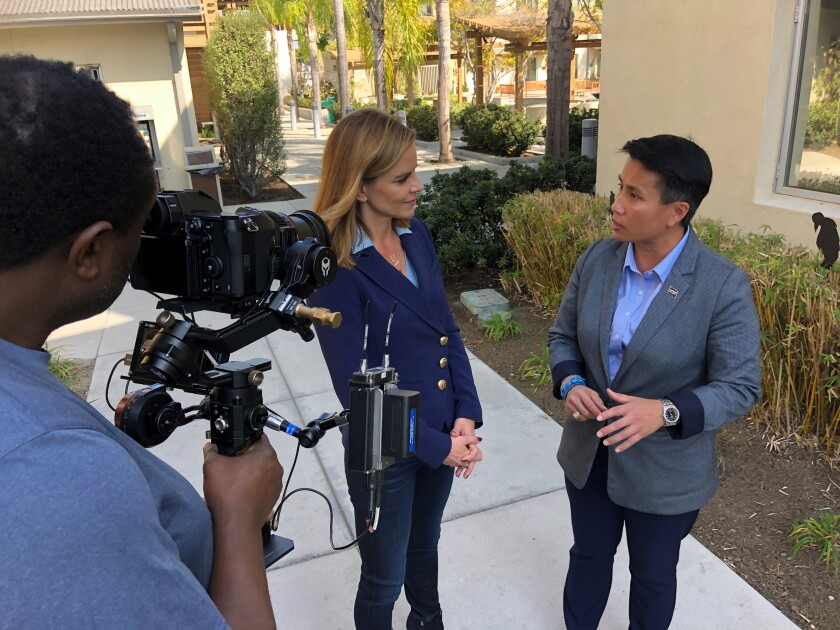 Today Show journalist Natalie Morales (left) interviews Veterans Village of San Diego President and CEO Kim Mitchell on Nov. 6, 2019, for a story that ran on the national news show on Veterans Day.