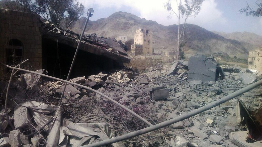 The aftermath of an airstrike on a hospital in Saada province, Yemen, in seen in an image from Oct. 27, 2015.