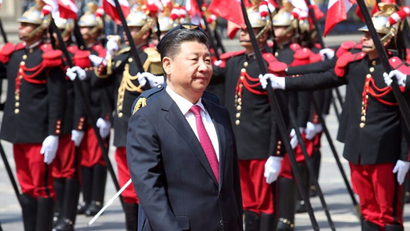 Chinese President Xi Jinping arrives at the government palace in Lima, Peru, on Nov. 21, 2016.