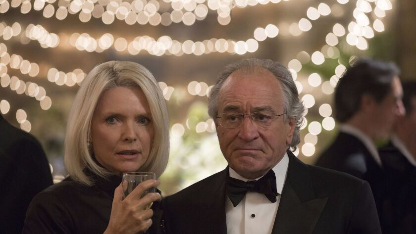 """Michelle Pfeiffer as Ruth Madoff and Robert De Niro as Bernie Madoff in """"The Wizard of Lies,"""" premiering Saturday on HBO"""