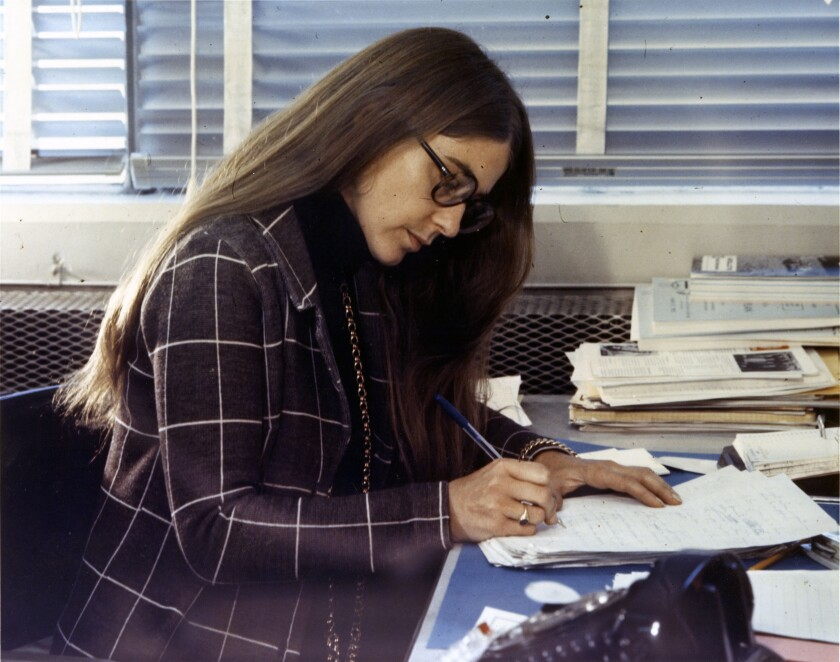 Young Apollo software pioneer Margaret Hamilton in an undated photo. Her image was part of Google's massive lighted portrait in the Mojave Desert.