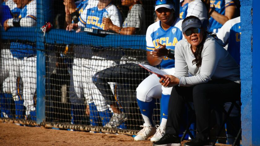 LOS ANGELES, CALIF. - MAY 25: UCLA Bruins head coach Kelly Inouye-­Perez and the UCLA Bruins in the