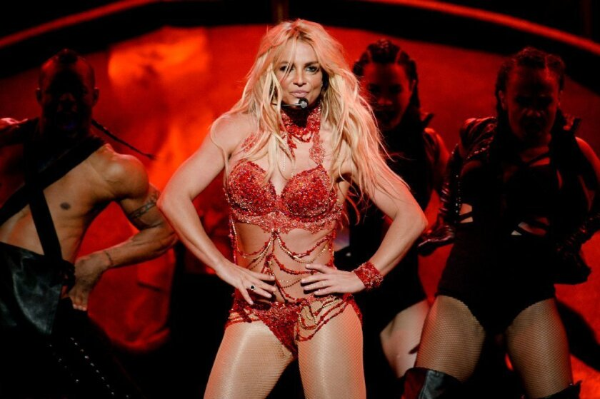 Britney Spears wears a hand-beaded bikini with crystal body swags created by L.A. designer Mark Zunino during the Billboard Music Awards in Las Vegas in May.