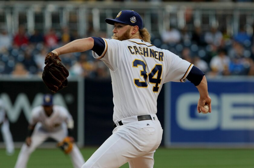 Padres pitcher Andrew Cashner fires to the plate.