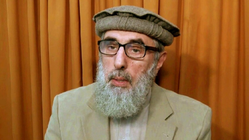 Afghan warlord Gulbuddin Hekmatyar, in an image from video released to the Associated Press in November 2015, is trying to make peace with the government in Kabul.