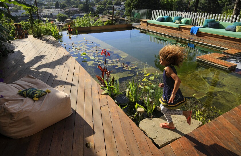 Xenia Caivano, 7, runs past the natural pool filtered by plants.