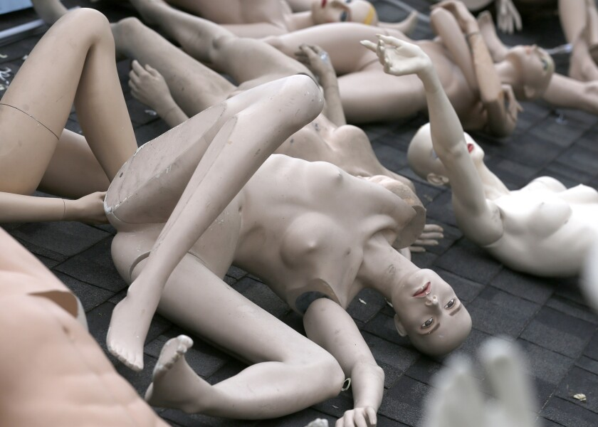 """Mannequins from ChadMichael Morrisette's art installation """"No One Is Safe."""""""