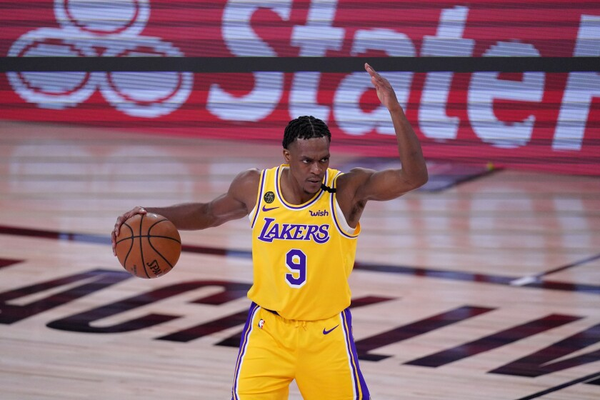 Lakers guard Rajon Rondo sets up the offense during Game 1 of the Western Conference finals on Sept. 18, 2020.