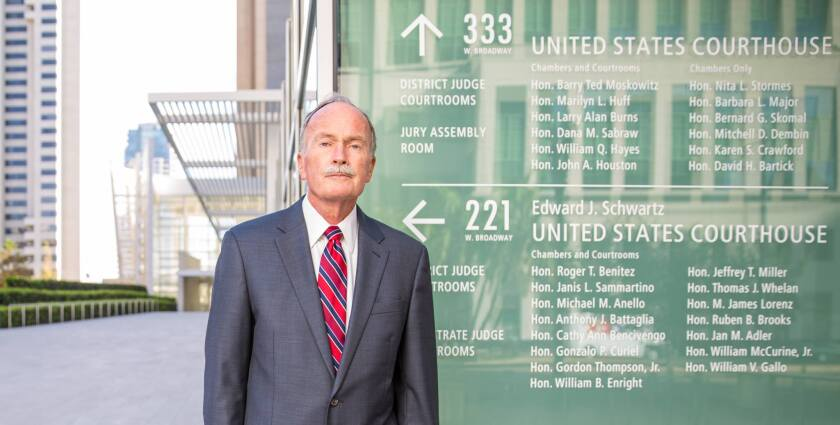 Charles Adair, a San Diego criminal defense attorney, stands outside the San Diego federal courthouse complex.