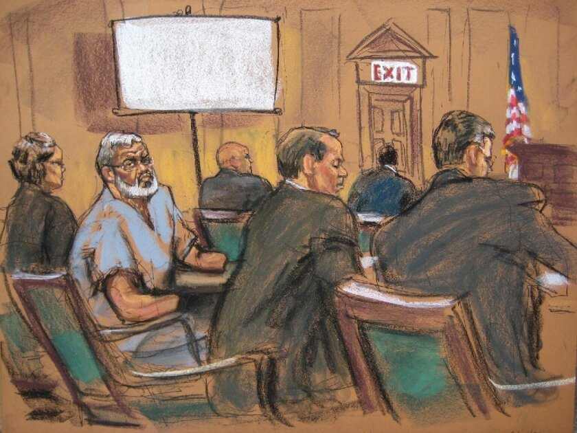 A court illustration shows Abu Hamza Masri during jury selection in New York. The Egyptian-born imam's trial on terrorism charges is underway.
