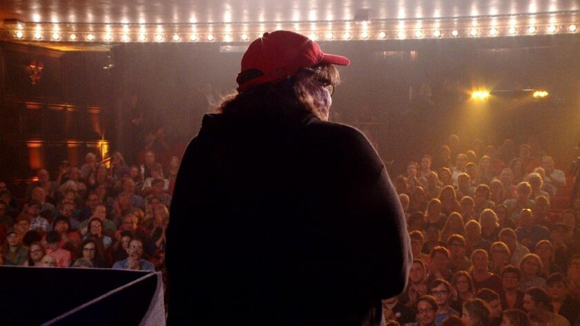 """Michael Moore in a scene from his 2016 documentary, """"TrumpLand."""""""