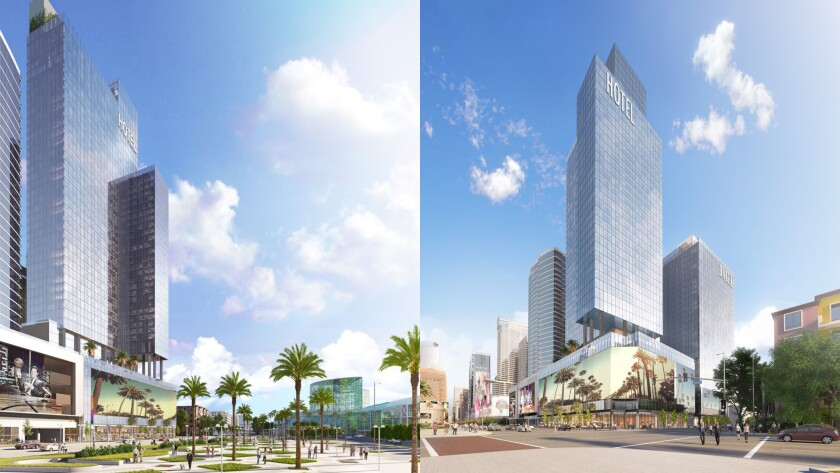 Renderings show Fig + Pico, a planned 1,153-room hotel complex planned between the Los Angeles Convention Center and a light-rail station in downtown L.A.