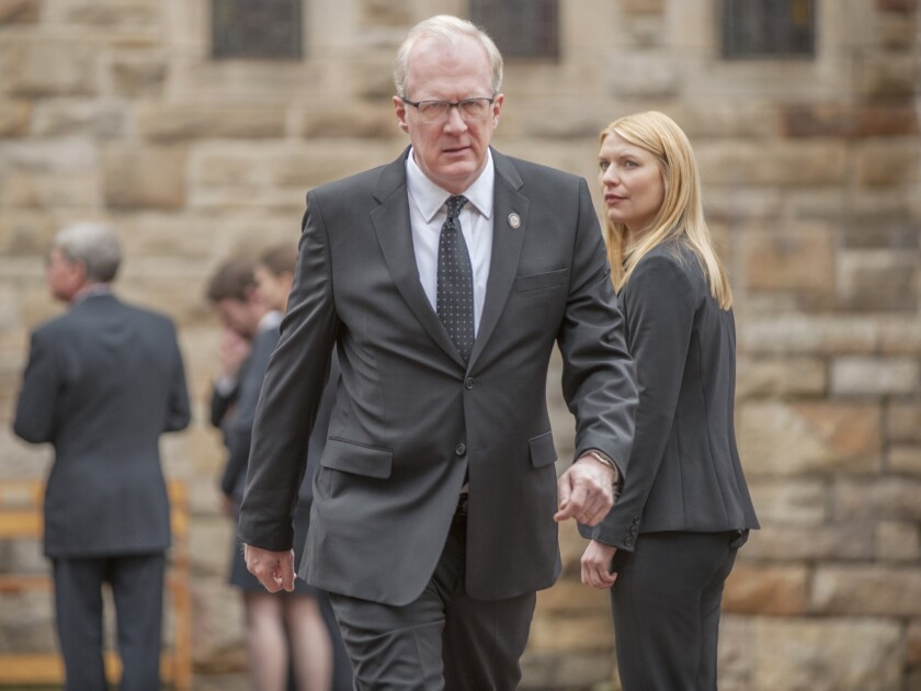 "CIA Director Andrew Lockhart (Tracy Letts) intends to scapegoat Carrie Mathison (Claire Danes) and prohibit her from returning to a war zone on Episode 402 of ""Homeland."""