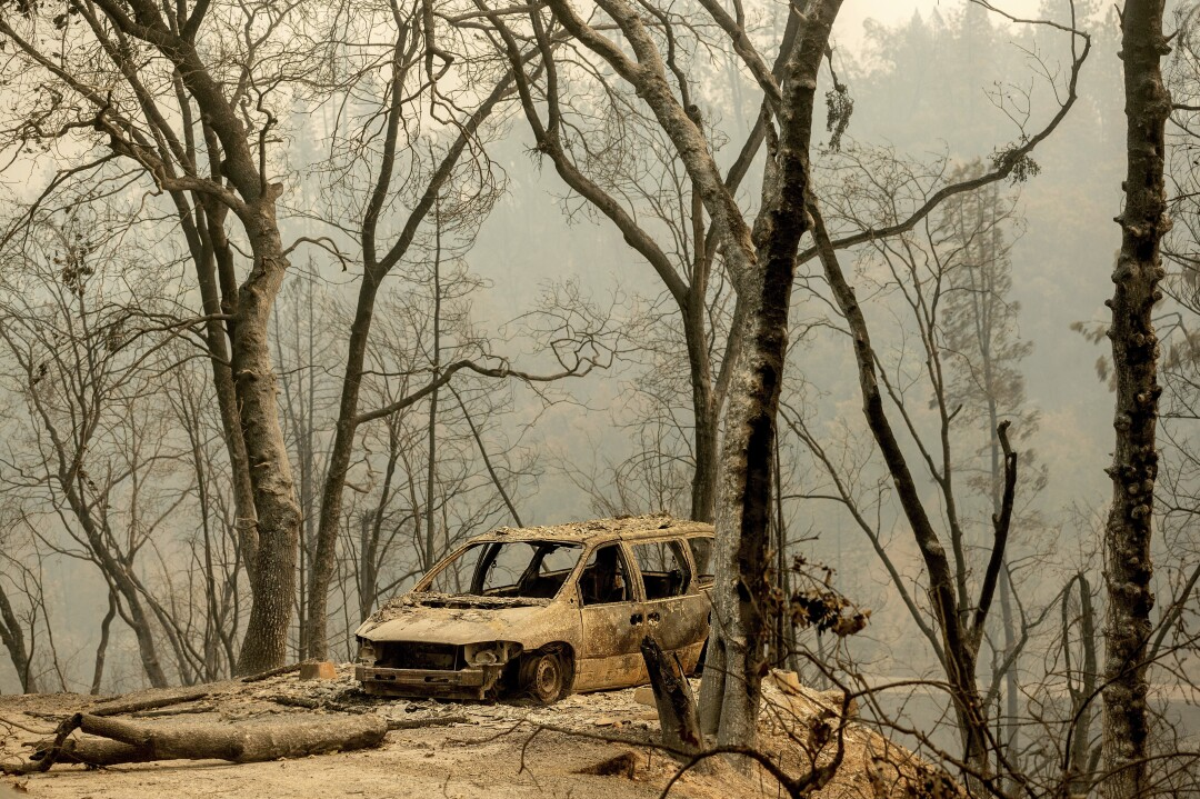 A scorched vehicle