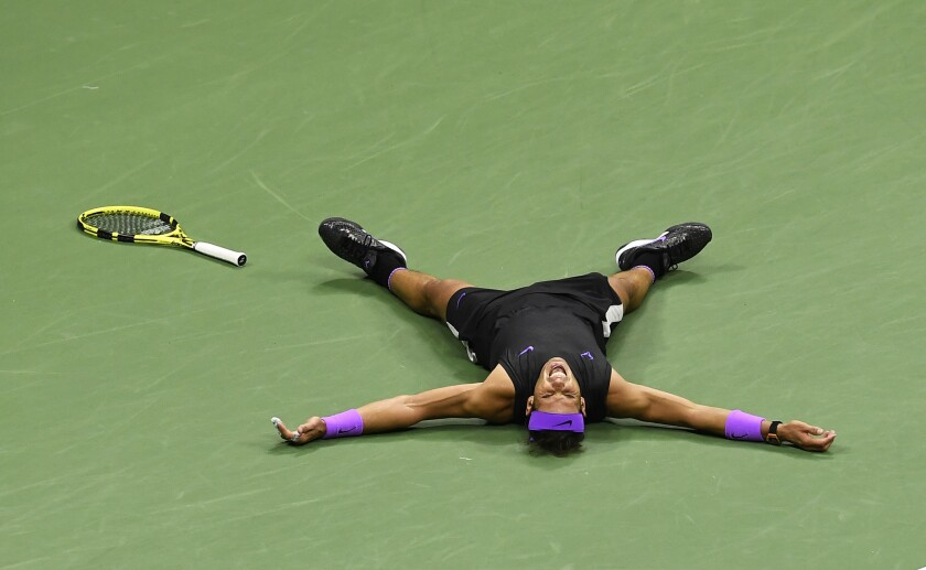 Rafael Nadal reacts after defeating Daniil Medvedev for the U.S. Open title on Sunday.