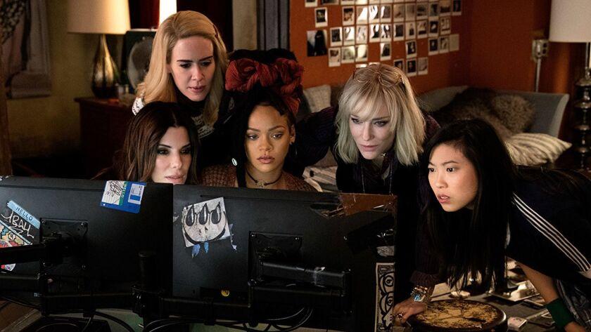 "Sandra Bullock, Cate Blanchett, Sarah Paulson, Rihanna, and Awkwafina in ""Ocean's 8."" (Barry Wetcher"