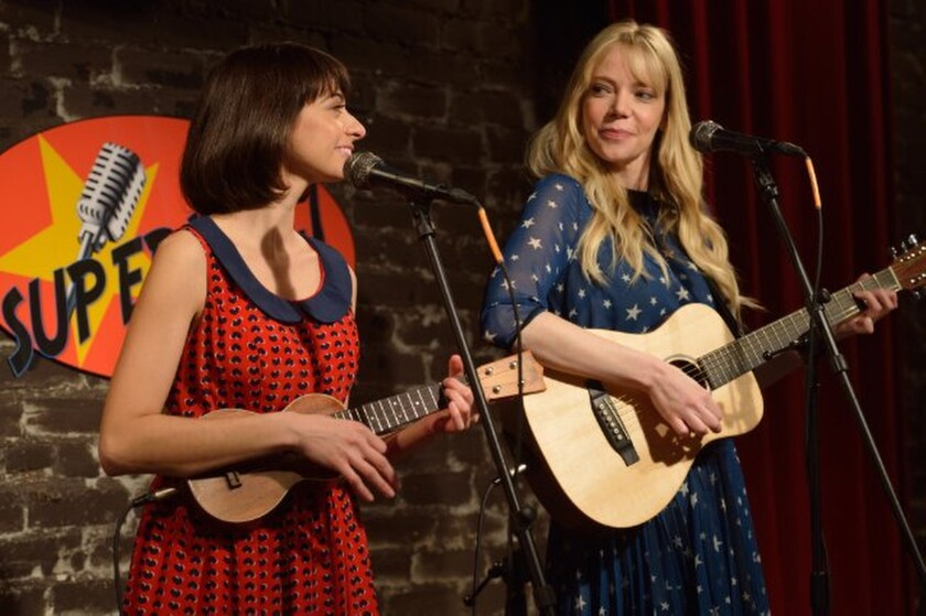 """Garfunkel and Oates"" stars Kate Micucci, left, and Riki Lindhome, a musical comedy team who have performed in real life under that name for years."
