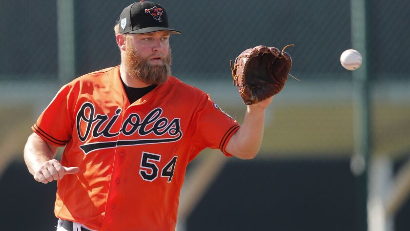Baltimore Orioles starting pitcher Andrew Cashner works out at their spring training baseball facility in Sarasota, Fla., Friday, Feb. 15, 2019. (AP Photo/Gerald Herbert)