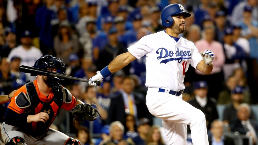 Andre Ethier drives in the Dodgers' only run during Game 7 of the 2017 World Series.