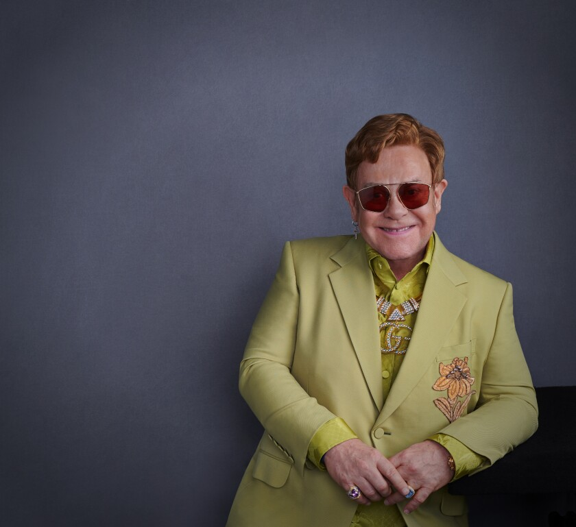 "Elton John backstage at a recent performance for the film ""Rocketman"""
