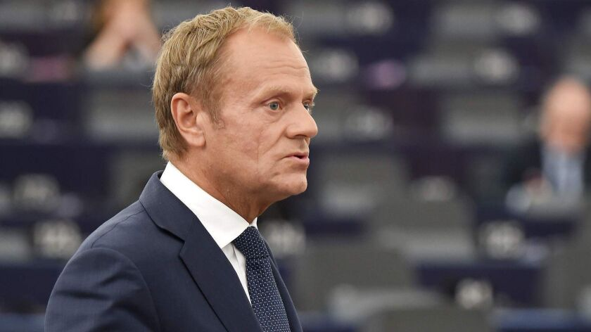 European Council President Donald Tusk speaks at a debate on July 3.