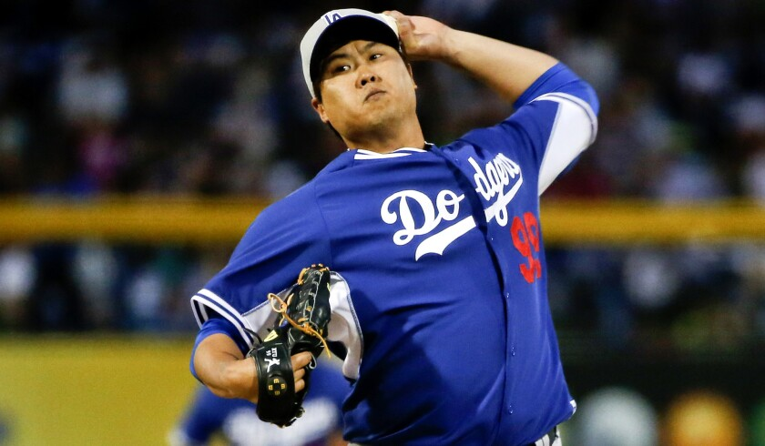 Dodgers starting pitcher Hyun-Jin Ryu did not give up a hit in two innings of work against the Padres on March 12. He's been experiencing shoulder soreness since his last start on March 17.