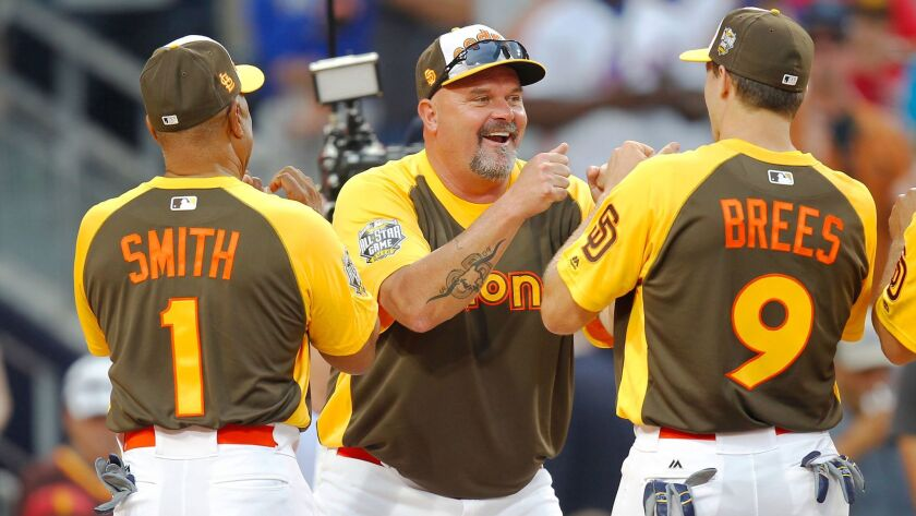 David Wells, center, is introduced with Ozzie Smith, left, and Drew Brees during the Celebrity & Legend Softball Game on July 10 at Petco Park.