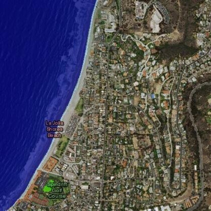 La Jolla Shores in the event of a 2-foot sea level rise. Note that the Spindrift Golf Course (displayed in green), is an unconnected low-lying area that also may flood. A more detailed analysis of these areas is required to determine the susceptibility to flooding.
