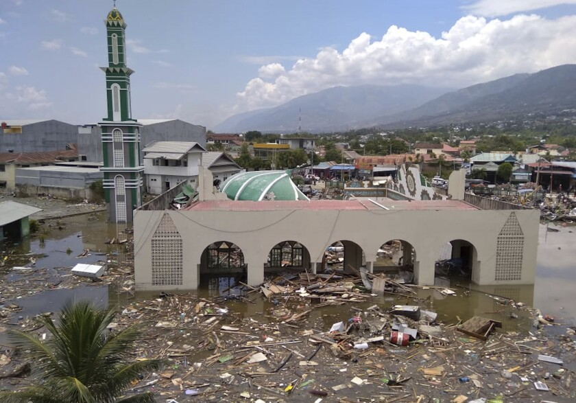A mosque that was badly damaged by an earthquake and tsunami in Palu, Central Sulawesi, Indonesia, on Sept. 29, 2018.