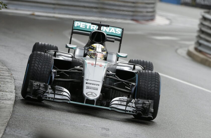 Mercedes driver Lewis Hamilton of Britain steers his car during the Formula One Grand Prix at the Monaco racetrack in Monaco, Sunday, May 29, 2016. (AP Photo/Claude Paris)