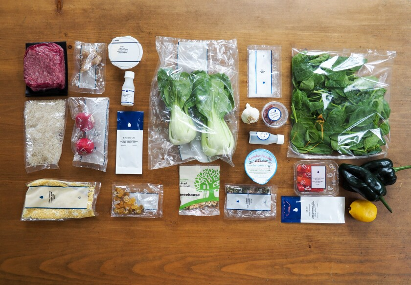 Jenn Harris recently kitchen-tested all the major meal kit delivery services. Here are all the prepackaged ingredients for Blue Apron's couscous-stuffed poblano peppers meal box.