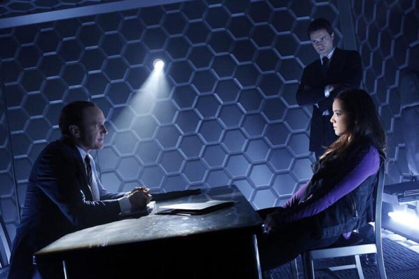 "Clark Gregg, Brett Dalton and Chloe Bennet in ""Agents of S.H.I.E.L.D."""