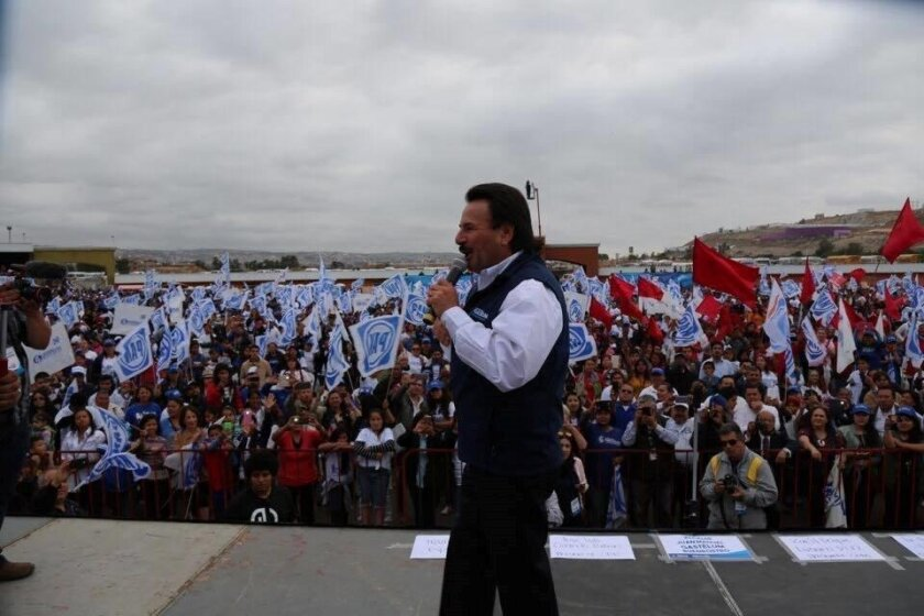 Tijuana PAN mayoral candidate Juan Manuel Gastelum at his closing rally on Sunday.