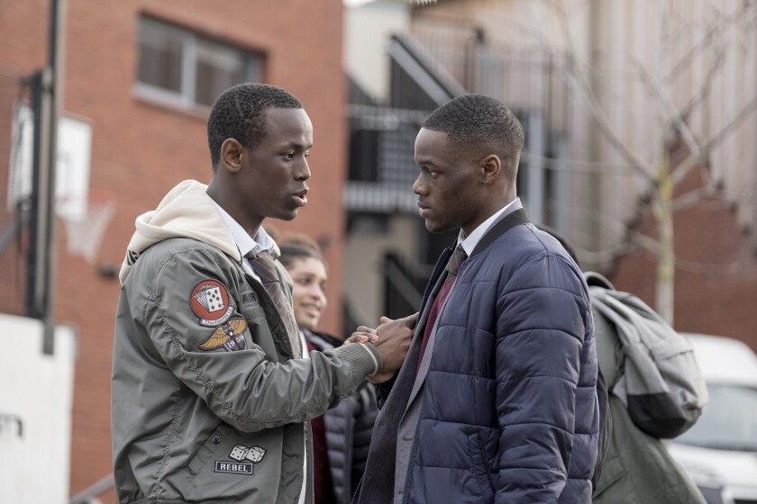 "Micheal Ward, left, and Stephen Odubola in the movie ""Blue Story."""