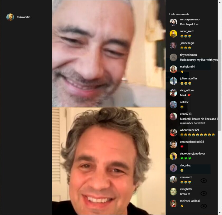 Screen shot of Taika Waititi and Mark Ruffalo during an Instagram Live watch party.