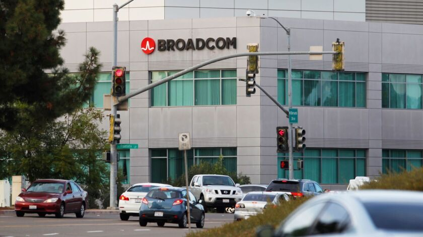 Broadcom is pushing forward with its hostile takeover attempt of Qualcomm. Here, a Broadcom building in Rancho Bernardo.