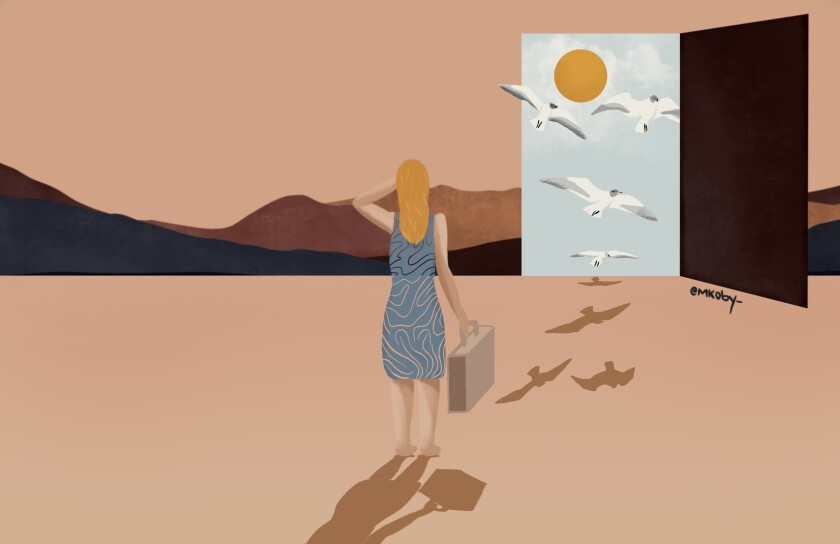 Illustration of a woman in a desert looking toward a door to another dimension.
