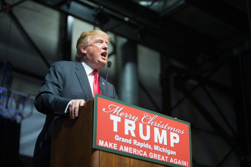Republican presidential candidate Donald Trump speaks Monday at a campaign rally in Grand Rapids, Mich.
