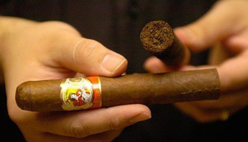 Cesar's stocks Macanudo, Cohiba, Hoyo de Monterrey and La Gloria Cubana cigars.