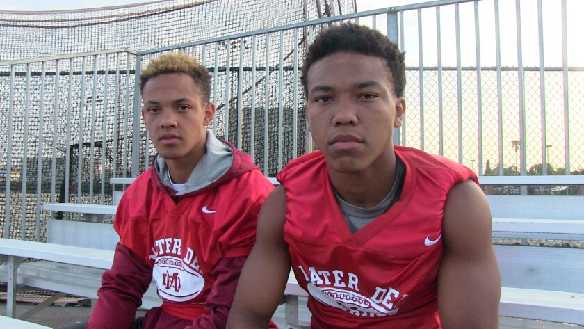 Brothers Osiris (left) and Amon-Ra St. Brown are receivers at Santa Ana Mater Dei.