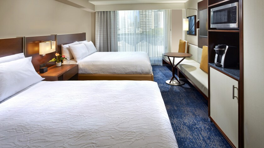 Tthe largest Hilton Garden Inn has 623 guest rooms.