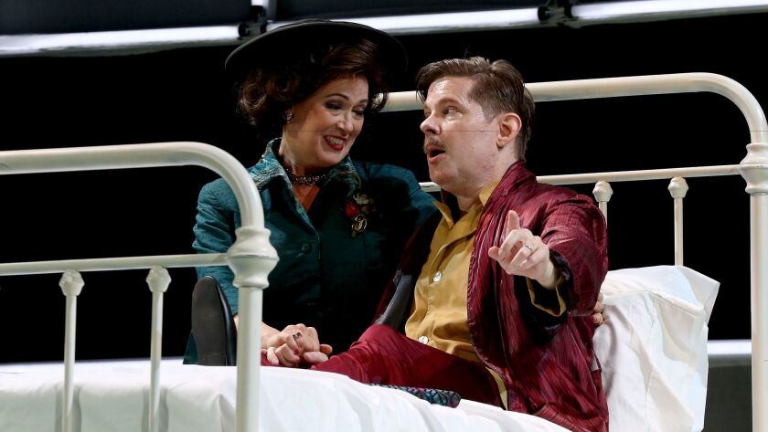 "Baritone Justin Ryan and soprano Suzan Hanson are Walt and Lilian Disney in Long Beach Opera's production of Philip Glass' ""The Perfect American."""