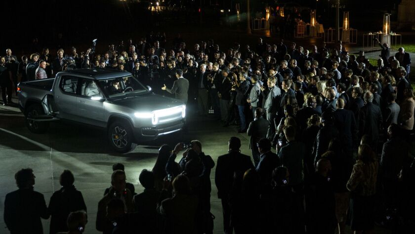 The Rivian R1T electric truck is unveiled at an event at Griffith Observatory in Los Angeles.