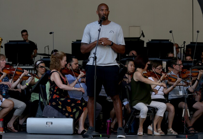 """Lakers great Kobe Bryant rehearses with the L.A. Philharmonic in 2017 to narrate """"Dear Basketball,"""" a poem that he wrote in contemplation of his retirement."""