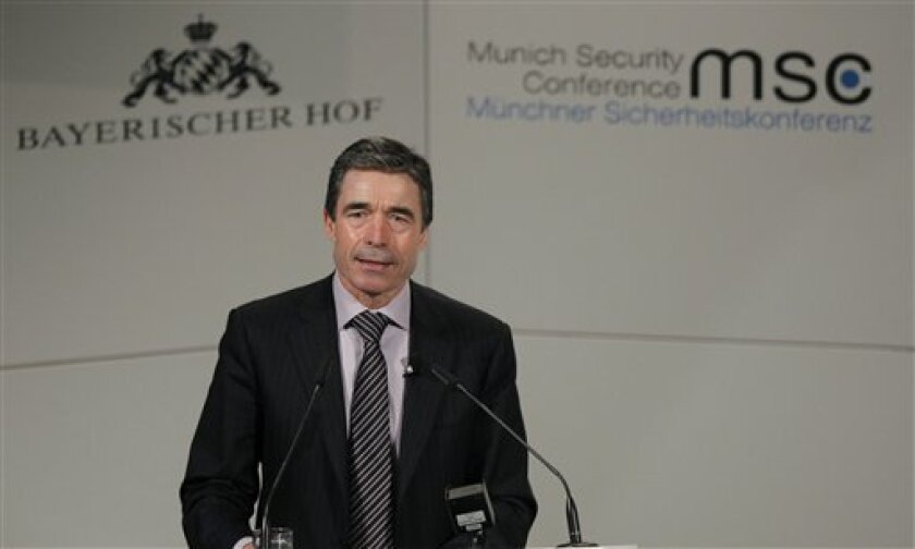 NATO Secretary General Anders Fogh Rasmussen is seen during his speech at the annual Munich Security conference in Munich, southern Germany, on Sunday, Feb. 7, 2010. (AP Photo/Matthias Schrader)