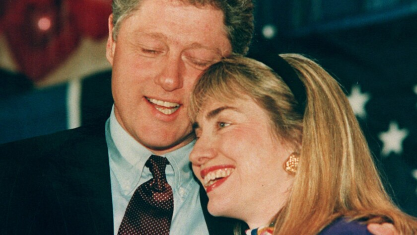 Bill and Hillary Clinton embrace on the campaign trail in 1992.